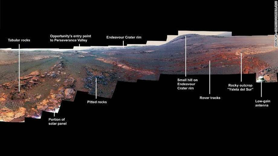 This is a panoramic view the Opportunity rover took with its Pancam over Mars from May 13 through June 10, 2018. The rover recently quit responding to signals. Photo: Contributed Photo / Contributed Photo / The News-Times Contributed