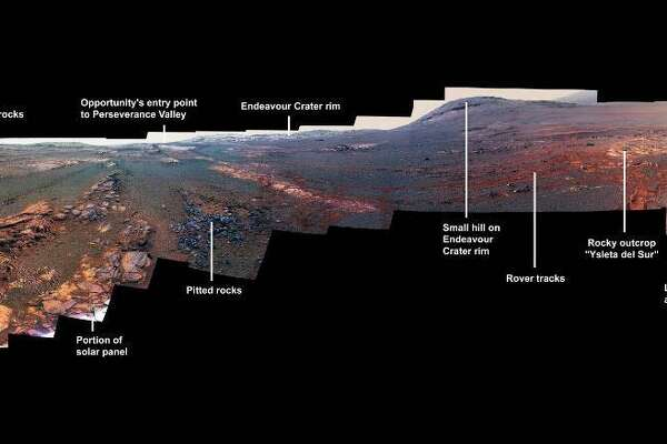 This is a panoramic view the Opportunity rover took with its Pancam over Mars from May 13 through June 10, 2018. The rover recently quit responding to signals.