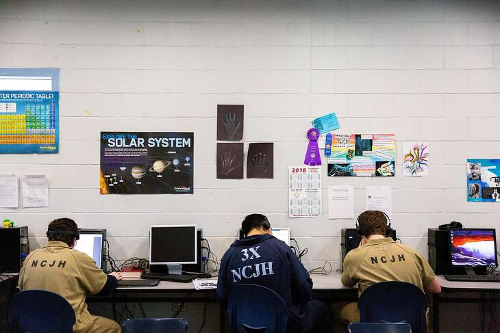 Detained juveniles during lab time at the Nevada County Juvenile Hall on Wednesday, Jan. 16, 2019, in Nevada City, Calif.