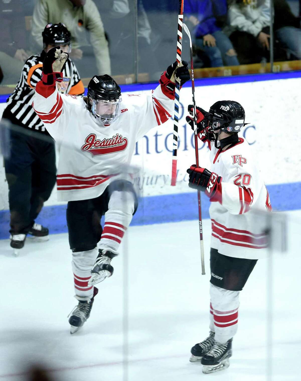 Fairfield Prep's Lucas Baksay, left, celebrates with Anthony Clericuzio after scoring against Notre Dame-West Haven in the first period of the the CIAC Division I championship game on Tuesday in New Haven.