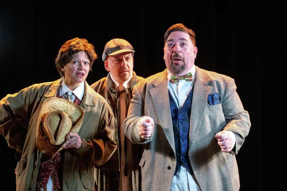"The Warner Stage Company will present Ken Ludwig's ""Baskerville: A Sherlock Holmes Mystery,"" in the Nancy Marine Studio Theatre March 23-31. Pictured are Gillian Bailey, Patrick Spadaccino and Joe Harding. Photo: Mandi Martini And Luke Haughwout / Contributed Photo /"