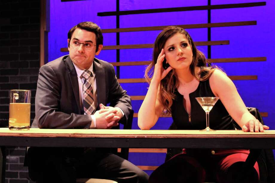 "Seven Angels Theatre is staging the comedy ""First Date"" with performances through April 17. Pictured are Costantine Pappas and Christina Carlucci. Photo: Paul Roth / Contributed Photo /"