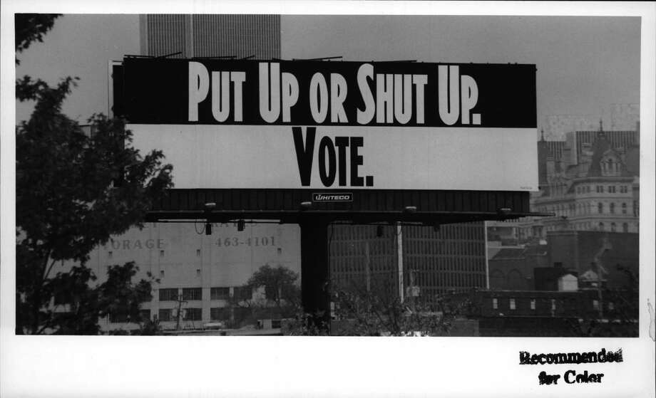 Do you remember seeing these billboards around the Capital Region in decades gone by? Click through the slideshow to find out. 787 Southbound near Central Warehouse, Albany, New York - large billboard with a message if you don't vote, don't complain afterwards. New York State Capitol and South Mall to right of billboard in background. October 21, 1992 (Paul D. Kniskern, Sr./Times Union Archive) Photo: Paul D. Kniskern, Sr., Times Union Historic Images / http://hipe.historicimages.com/images/tua/tua71271b.jpg