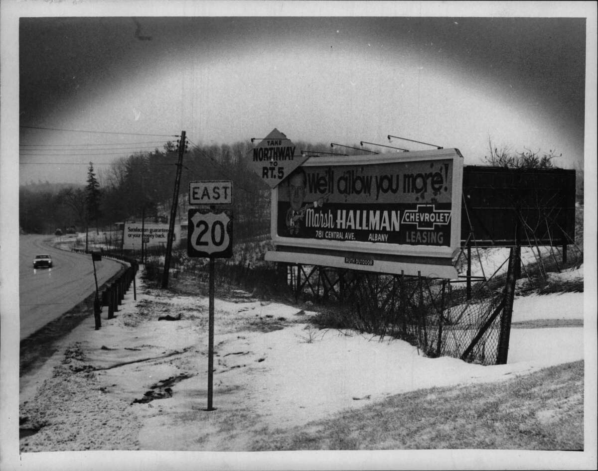 Billboard along Western Turnpike Route 20 in Guilderland, New York - pix looking east. March 1972 (Bob Richey/Times Union Archive)