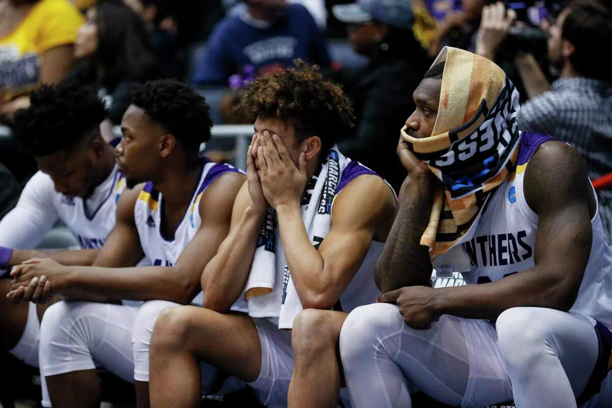 The Prairie View A&M bench reacts during the second half of a First Four game of the NCAA college basketball tournament against Fairleigh Dickinson, Tuesday, March 19, 2019, in Dayton, Ohio. (AP Photo/John Minchillo)