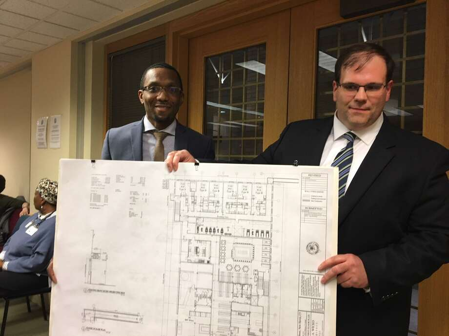 Trajah Buxton, left, and Gregory Muccilli made a presentation on a proposed conversion of a garage at 260 Crown St. to apartments. Photo: Mary E. O'Leary /Hearst Connecticut Media /