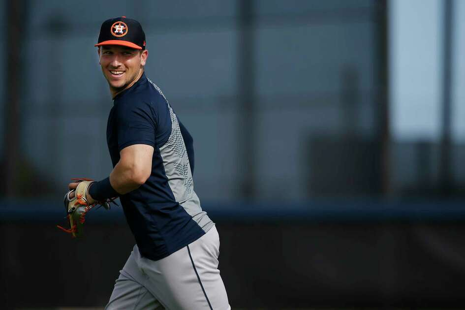 Houston Astros third baseman Alex Bregman (2) during defense drills at Fitteam Ballpark of The Palm Beaches on Day 10 of spring training on Saturday, Feb. 23, 2019, in West Palm Beach.