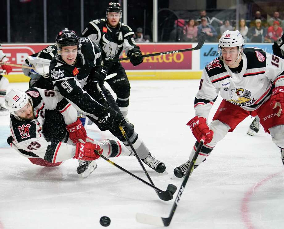 The Grand Rapids Griffins play the San Antonio Rampage during the third period of an AHL hockey game, Tuesday, March 19, 2019, in San Antonio. Grand Rapids won 2-1 in a shootout. (Darren Abate/AHL) Photo: Darren Abate, FRE / Darren Abate/AHL / Darren Abate Media, LLC/AHL/San Antonio Rampage
