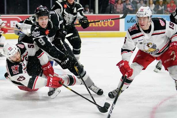 The Grand Rapids Griffins play the San Antonio Rampage during the third period of an AHL hockey game, Tuesday, March 19, 2019, in San Antonio. Grand Rapids won 2-1 in a shootout. (Darren Abate/AHL)