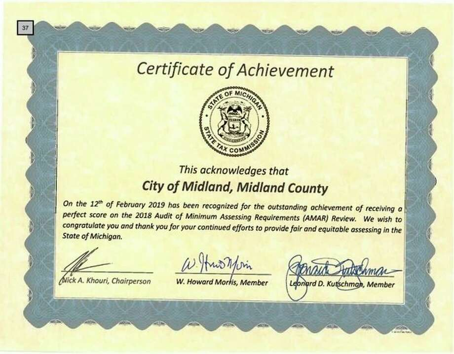 The certificate awarded to the City of Midland, by the State of Michigan, recognizing the city's perfect score on the 2018 AMAR review.