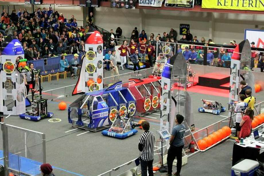 The sixth annual FIRST Robotics District Competition will take place Friday and Saturday at H. H. Dow High School. This picture is from a previous year's event. (Photo provided)