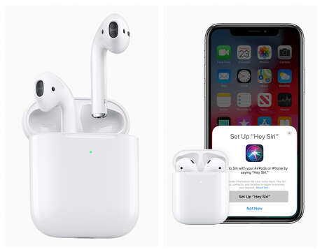 """Apple updated its AirPods wireless earbuds on March 20, 2019. New features include """"Hey Siri"""" capability, longer battery life and a wireless charging case."""