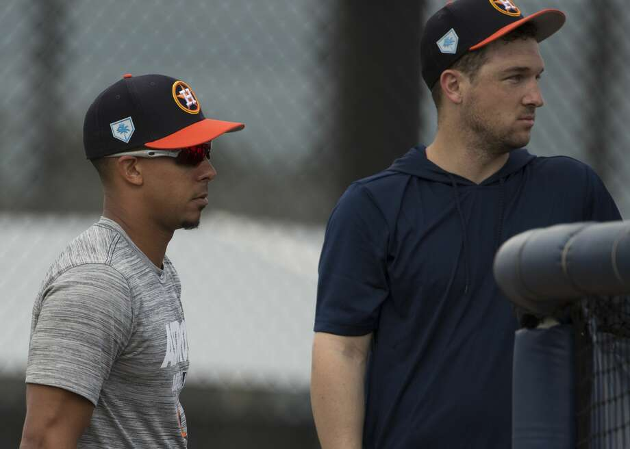 PHOTOS: Houston Astros top prospects in 2019 Houston Astros left fielder Michael Brantley, left, and third baseman Alex Bregman watch other left handed hitters practice at Fitteam Ballpark of The Palm Beaches on Day 1 of spring training on Thursday, Feb. 14, 2019, in West Palm Beach. >>>See the Astros' top prospects headed into the 2019 season ... Photo: Yi-Chin Lee/Houston Chronicle