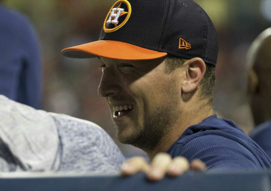 Houston Astros third baseman Alex Bregman (2) watches the game from the dugout during the Houston Astros-Washington Nationals spring training opening game at Fitteam Ballpark of The Palm Beaches on Saturday, Feb. 23, 2019, in West Palm Beach. Photo: Yi-Chin Lee, Staff / Staff Photographer / © 2019 Houston Chronicle