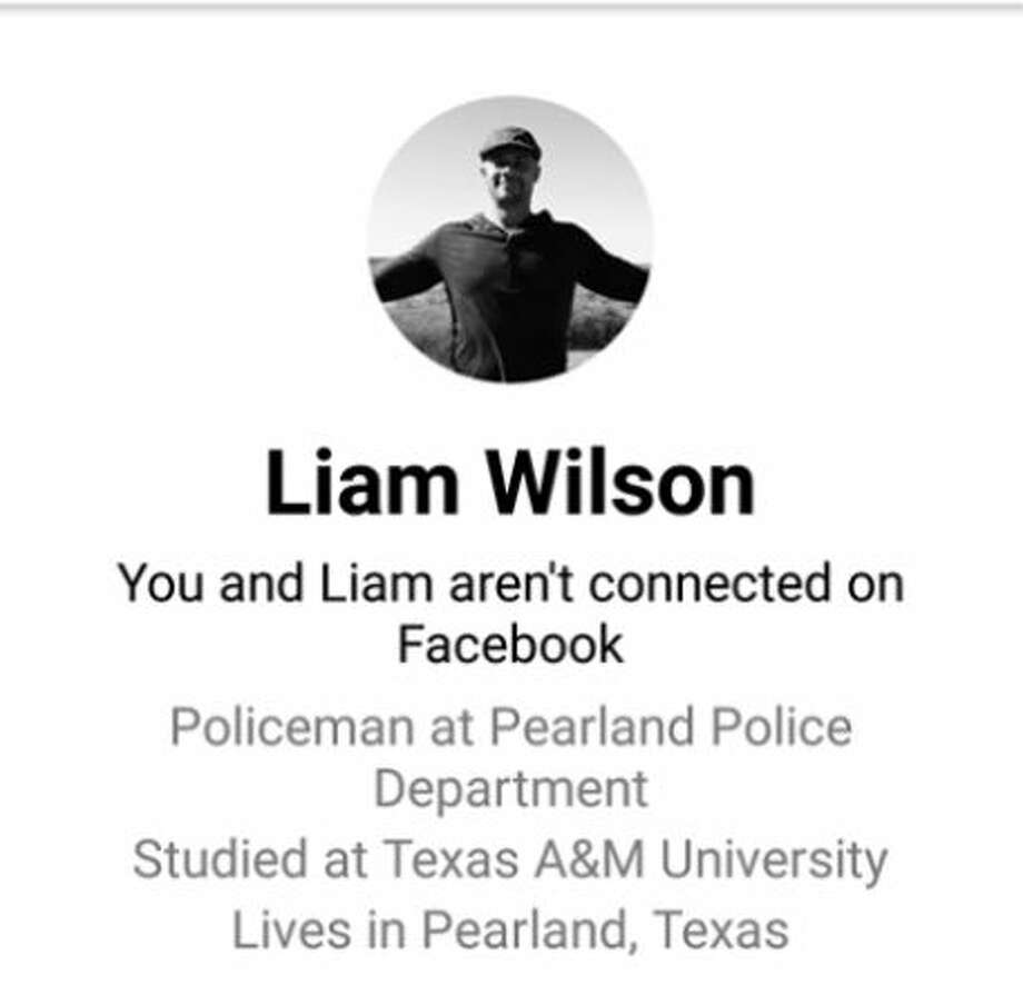 A person with the Facebook profile name Liam Wilson is falsely identifying himself as a Pearland police officer online and is accused of scamming residents. Photo: Pearland Police Department