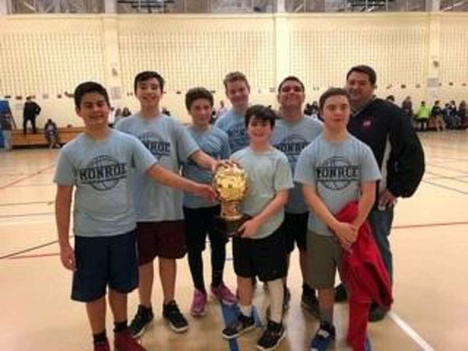 The Monroe boys seventh and eighth grade basketball team played the corresponding team from Newtown on March 14, 2019, at the 6th Annual First Selectman's Games. Photo: Contributed / Monroe Parks And Recreation Department