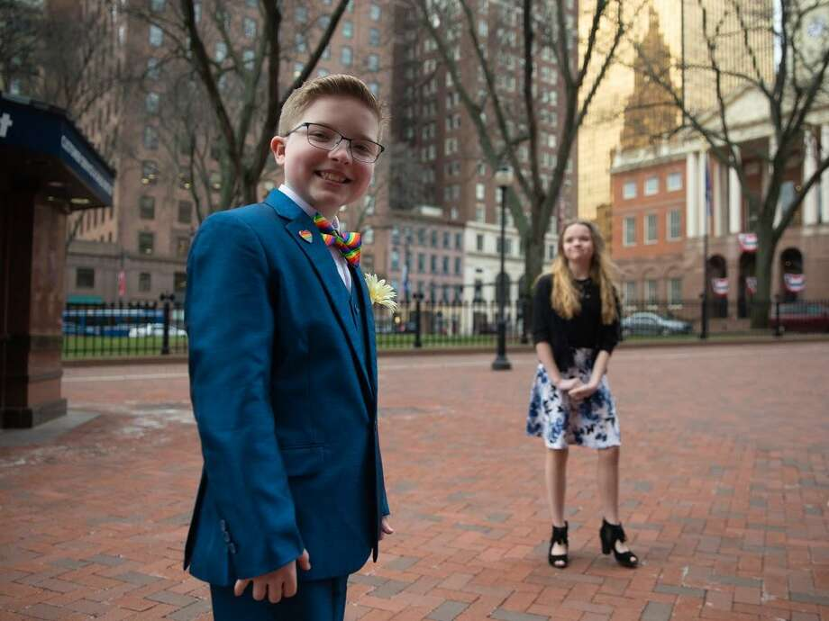 Ella Briggs with her sister Riley outside the Old State House. Photo: Ryan Caron King / CT Public Radio