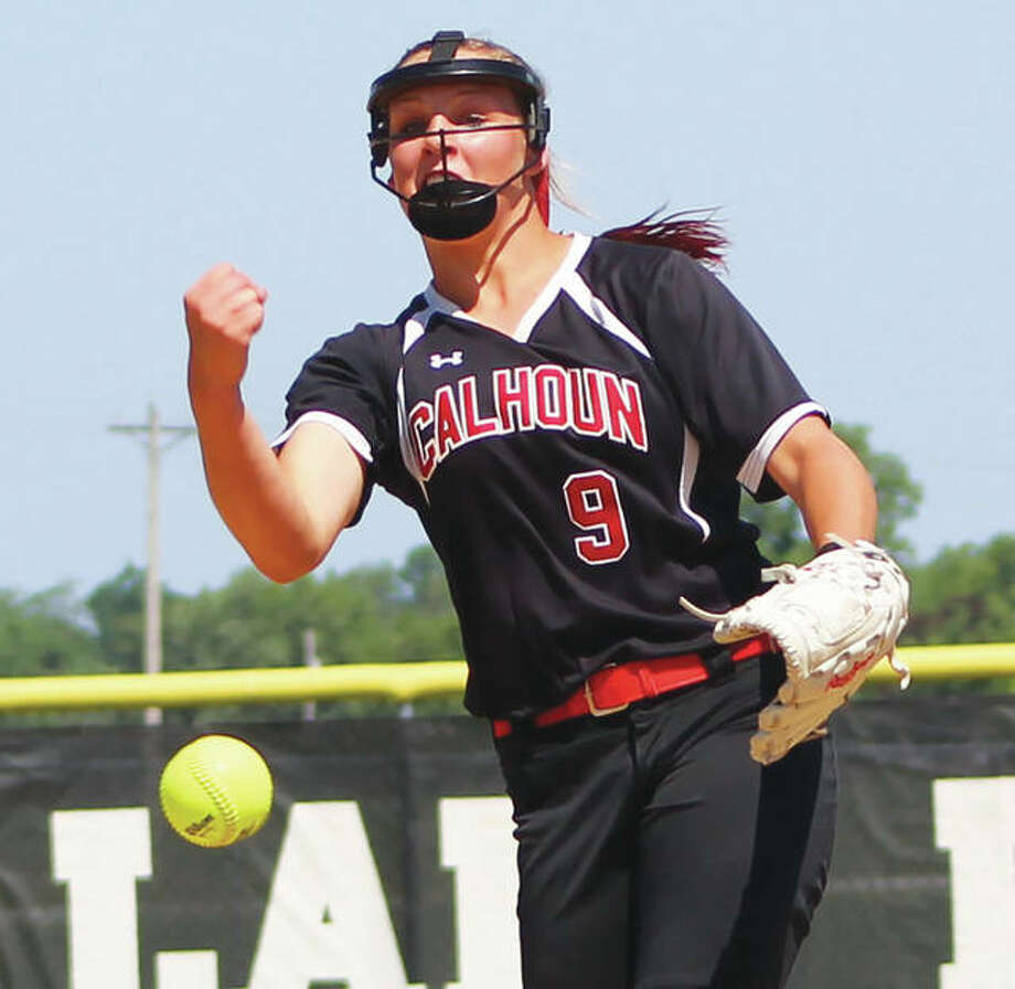 Calhoun's Sydney Baalman, shown last season pitching in her 1-0 shutout over Camp Point Central in a Class 1A sectional championship game, opened the season Tuesday with a no-hitter while striking out 15 to beat Concord Triopia. Photo: Greg Shashack / The Telegraph