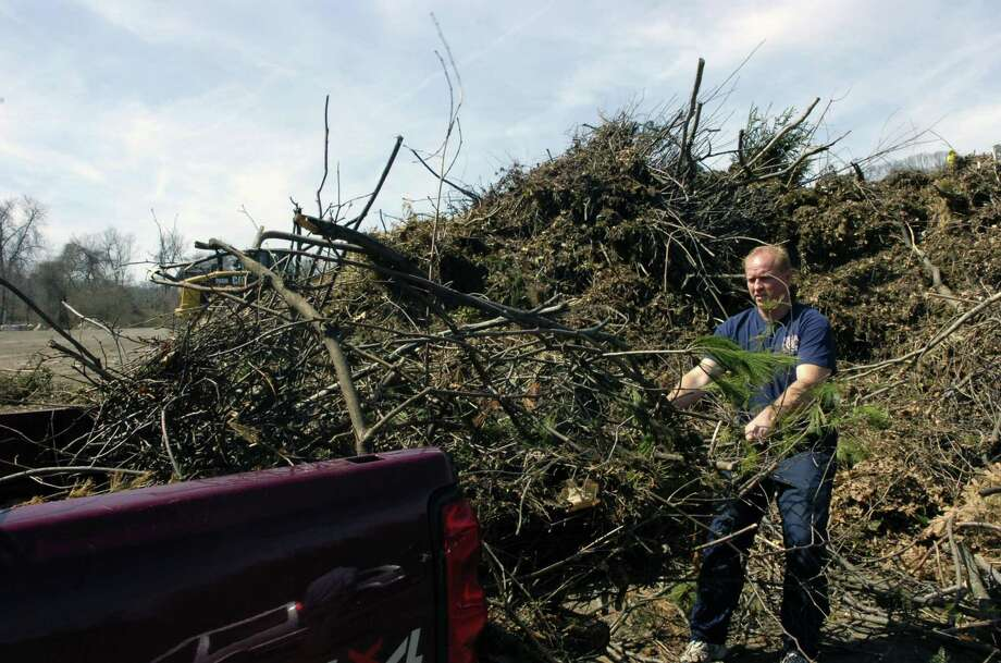 A man empties his pickup truck of brush on a dump run. Photo: File Photo / 00002807A