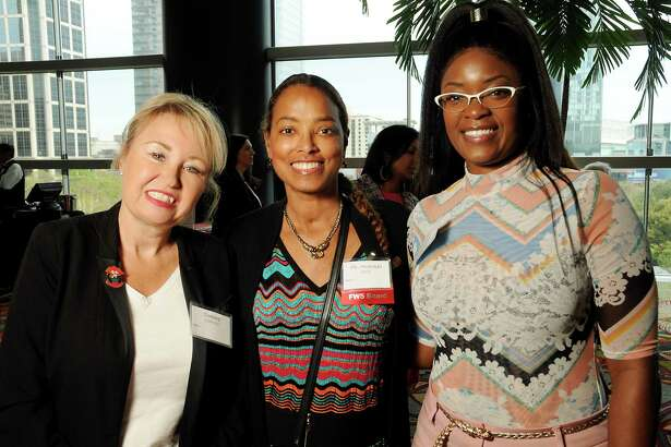 From left: Tammy Clidienst, Dr. Melenda Jeter and Tiecy Cotton at the 22nd Annual Table Talk Luncheon at the Hilton Americas Hotel Tuesday March 5,2019. (Dave Rossman Photo)