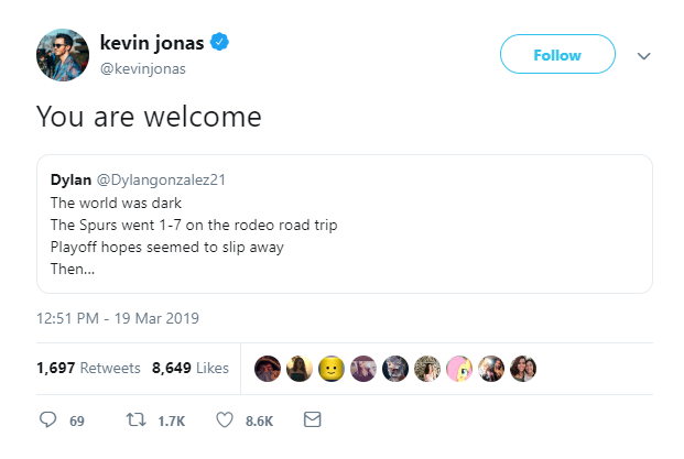 Jonas Brothers' Kevin Jonas tells Spurs fan 'You are welcome' for team's winning streak