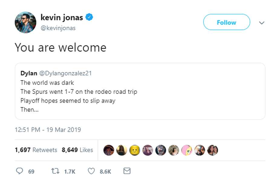 "Kevin Jonas, the eldest of the siblings from Dallas, caught wind of the viral tweet he was mentioned in and replied with ""You are welcome,"" sending hearts devoted to a dual fandom of the band and Spurs basketball into a tizzy. Photo: Twitter Screengrab"
