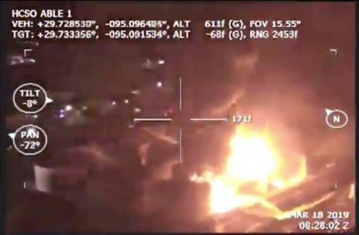 A police helicopter used by HCSO captured the images and sent them to county officials, so they could determine the best way to battle the blaze.