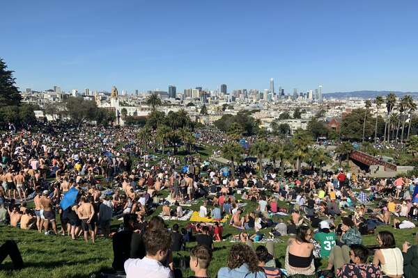 Crowds descended on San Francisco's Dolores Park on Saturday, March 16, 2019, amid a spell of sunny weather.