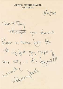 Harvey Milk letter to Don Amador and Tony Karnes, to be auctioned June 20