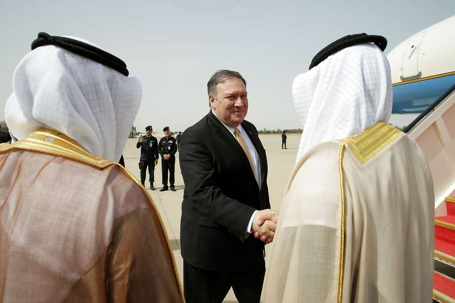 Secretary of State Mike Pompeo prepares to depart Kuwait International Airport for Israel, the next stop on his Mideast tour. Photo: Jim Young / Associated Press
