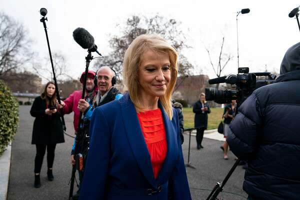 "Kellyanne Conway, counselor to President Donald Trump, outside the White House while speaking to reporters, in Washington, March 18, 2019. President Donald Trump directly attacked Conway's husband on Tuesday, calling George T. Conway III a ""total loser"" after he questioned Trump's mental fitness. (Doug Mills/The New York Times)"