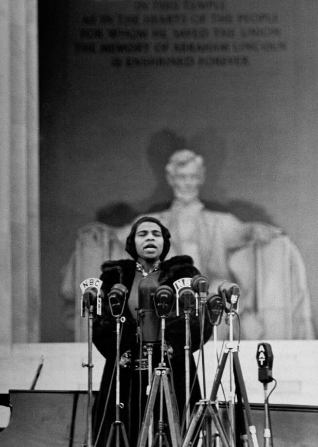 Singer Marian Anderson, denied use of a DAR (Daughters of the American Revolution) hall because of her race, gives an Easter concert at the Lincoln Memorial. Photo: Thomas D. McAvoy / The LIFE Picture Collection / Getty Images / Time Life Pictures