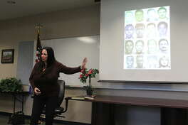 Lois Gibson speaks with members of the Northwest Chamber of Commerce Public Safety about her career as a forensic artist around the country on March 15, 2019. Gibson, 69, has completed 4,983 cases where her sketches were used and appeared in the Guinness Book of World Records.
