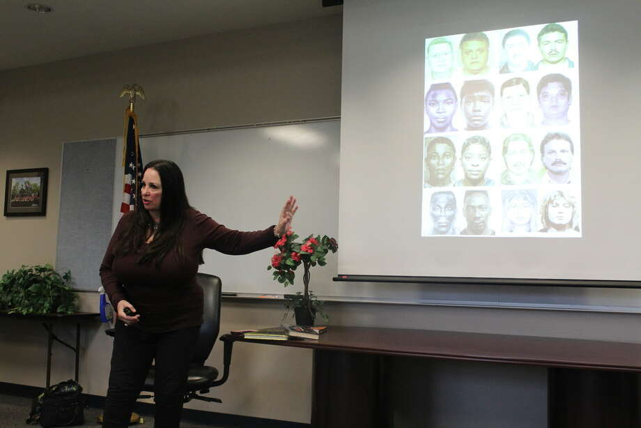 Lois Gibson speaks with members of the Northwest Chamber of Commerce Public Safety about her career as a forensic artist around the country on March 15, 2019. Gibson, 69, has completed 4,983 cases where her sketches were used and appeared in the Guinness Book of World Records. Photo: Chevall Pryce