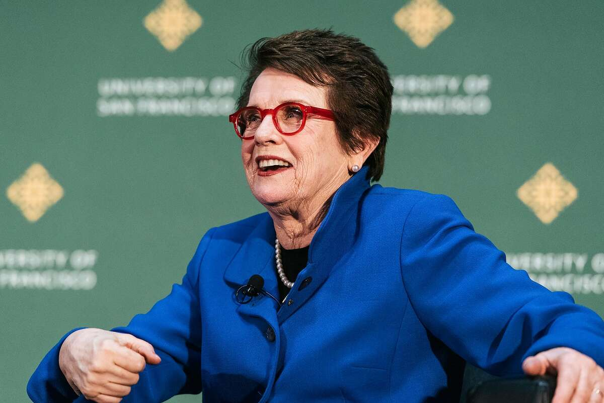 Legendary activist and tennis player Billie Jean King speaks with USF basketball coach Jennifer Azzi during USF's Silk Speaker Series at the University of San Francisco in San Francisco, Calif., on Tuesday, March 19, 2019.