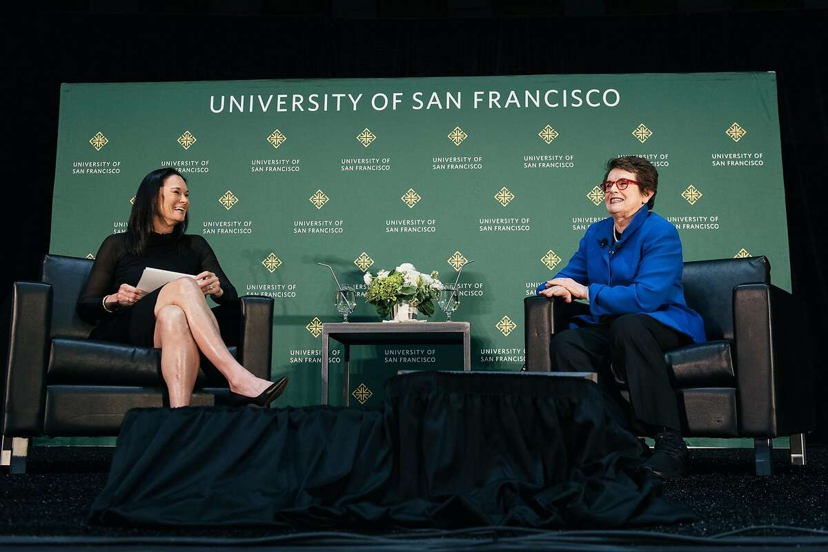 Legendary activist and tennis player Billie Jean King, right, speaks with USF basketball coach Jennifer Azzi during USF's Silk Speaker Series at the University of San Francisco in San Francisco, Calif., on Tuesday, March 19, 2019.