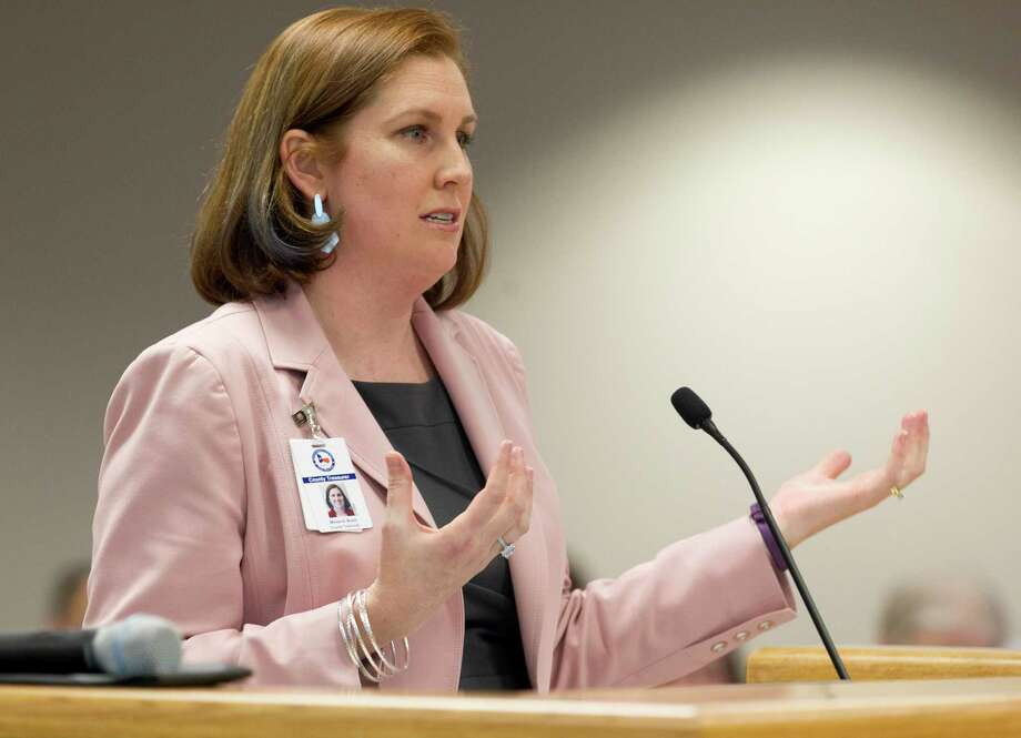 Montgomery County Treasurer Melanie Bush addressed members of the Montgomery County Commissioners Court during a meeting at the Alan B. Sadler Commissioners Court Building, Tuesday, March 19, 2019, in Conroe. Photo: Jason Fochtman, Houston Chronicle / Staff Photographer / © 2019 Houston Chronicle