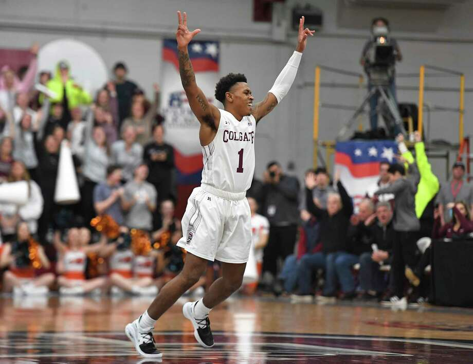 Colgate guard Jordan Burns celebrates a basket during the second half against Bucknell for the championship of the Patriot League men's tournament in Hamilton, N.Y., on March 13, 2019. Photo: Adrian Kraus /Associated Press / Copyright 2019 The Associated Press. All rights reserved.
