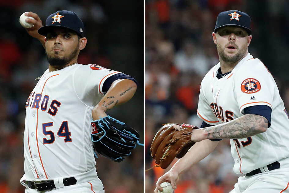 The in-season acquisitions of closer Roberto Osuna, left, and setup man Ryan Pressly during the 2018 season provided a lockdown presence for the Astros' bullpen.