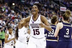 COLUMBUS, OH - APRIL 01:  Teaira McCowan #15 of the Mississippi State Lady Bulldogs reacts against the Notre Dame Fighting Irish during the third quarter in the championship game of the 2018 NCAA Women's Final Four at Nationwide Arena on April 1, 2018 in Columbus, Ohio.  (Photo by Andy Lyons/Getty Images)