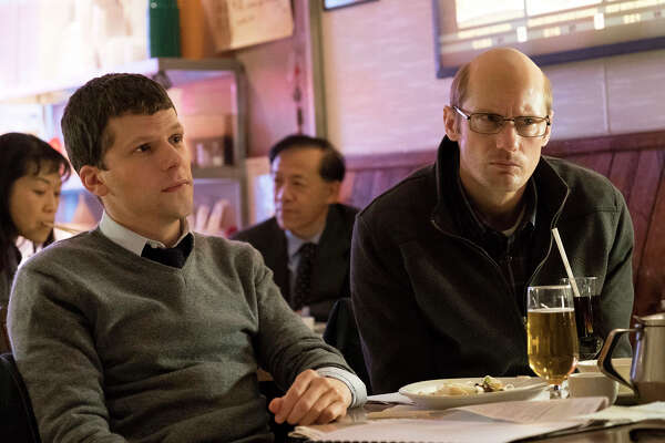 """Jesse Eisenberg, left, and Alexander Skarsgard play cousins who are trying to make a killing on the New York Stock Exchange by building a fiber-optic tunnel that will speed up the pace of financial transactions in """"The Hummingbird Project."""""""