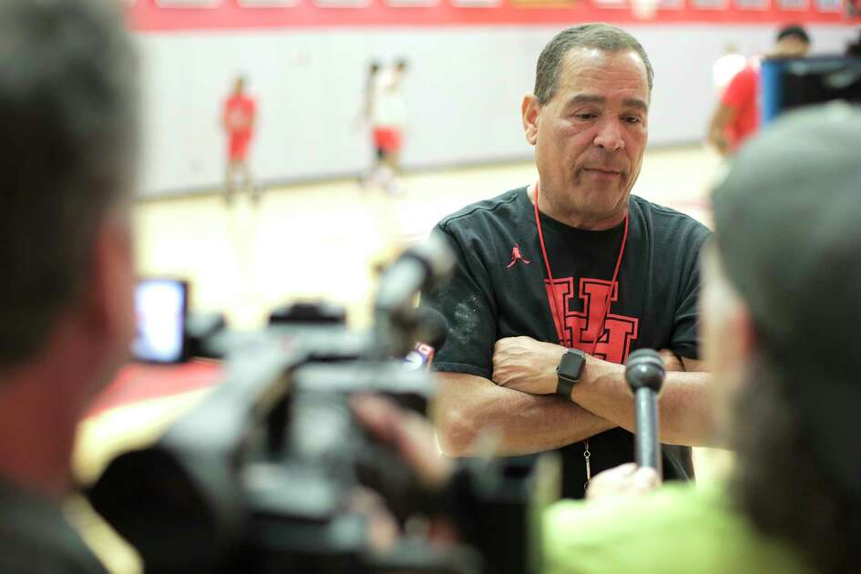University of Houston's men's basketball head coach Kelvin Sampson talks to the media after practice on on Tuesday, March 19, 2019 in Houston.