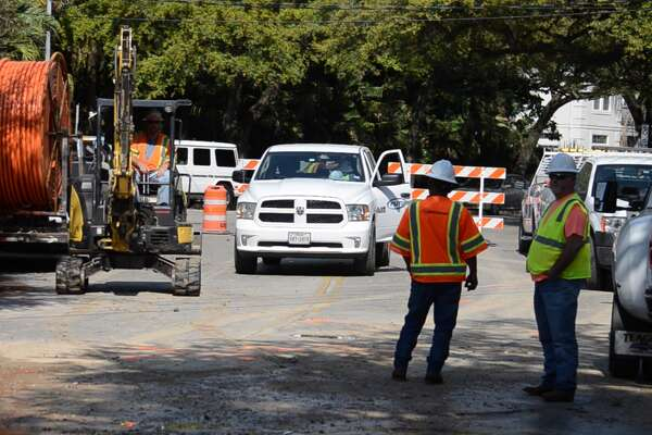 A contractor accidentally struck a water main while working on Bissonnet Street near Parkway Drive on March 20, 2019.