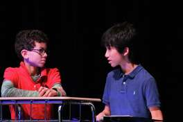 """The Pearl Theater will present plays written and performed by Nolan Ryan Junior High School students at 6 p.m. March 30. Aiden Lowman, left, and Westin Gonzalez will perform in Ethan Wiltz's """"The Heist."""""""