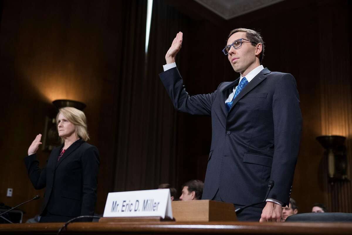 UNITED STATES - OCTOBER 24: Eric D. Miller and Bridget S. Bade, nominees to be U.S. Circuit judges for the 9th Circuit, are sworn in to a Senate Judiciary Committee hearing on judicial nominations in Dirksen Building on October 24, 2018. (Photo By Tom Williams/CQ Roll Call)