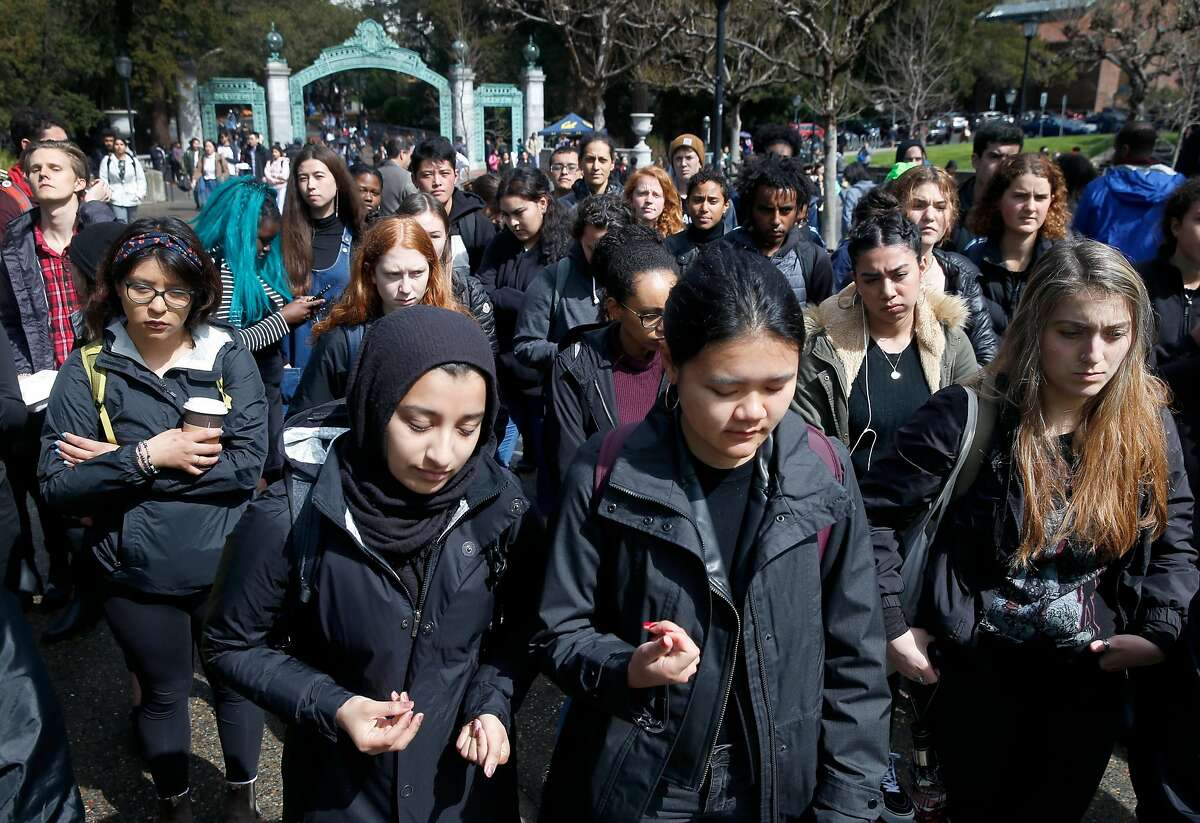 Hundreds of students gather on Sproul Plaza at UC Berkeley on Wednesday, March 20, 2019 for a noontime rally to protest what the demonstrators are calling a racial profiling incident by the university's police department on March 8.