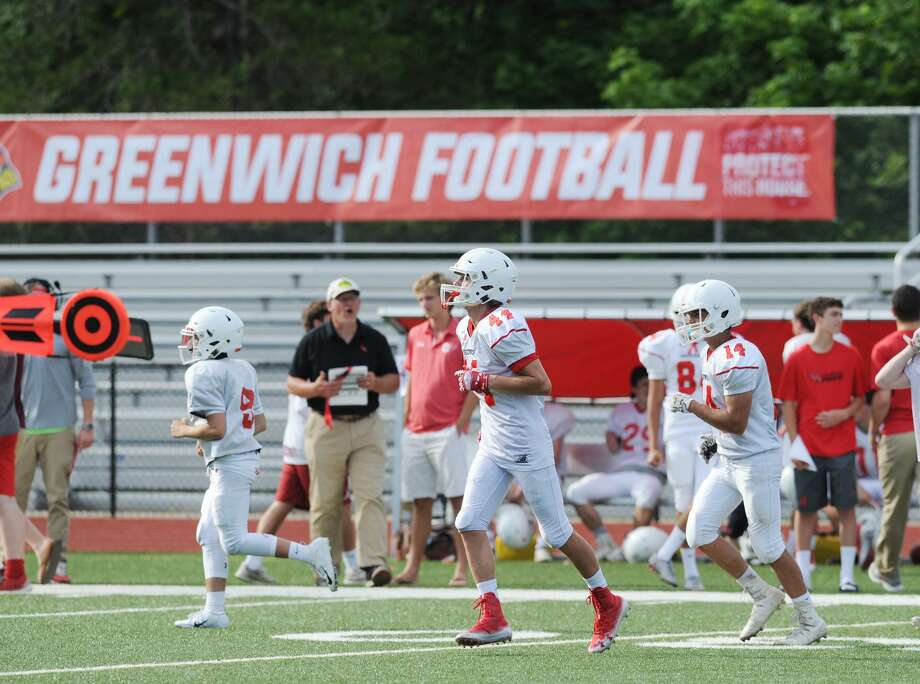 The annual Red vs. White Greenwich High School football scrimmage at Cardinal Stadium in Greenwich, Conn., Saturday, June 16, 2018. Photo: Bob Luckey Jr. / Hearst Connecticut Media / Greenwich Time