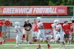 The annual Red vs. White Greenwich High School football scrimmage at Cardinal Stadium in Greenwich, Conn., Saturday, June 16, 2018.