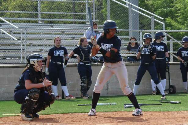 Kingwood's Jourdyn Campbell at the plate during practice. Campbell will play softball at Texas A& next year.