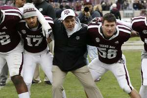 COLLEGE STATION, TEXAS - NOVEMBER 10: Head coach Jimbo Fisher of the Texas A&M Aggies participates in the Aggie War Hymn after defeating the Mississippi Rebels at Kyle Field on November 10, 2018 in College Station, Texas. (Photo by Bob Levey/Getty Images)
